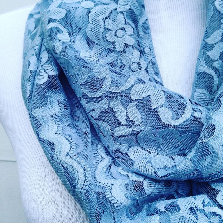 "Life isn't perfect but your outfit can be!! Rock those chilly summer evenings while wearing this lace infinity scarf in pale blue. Birthday gift, anniversary present, ""just because"" gift for wife, girl friend or bestie."