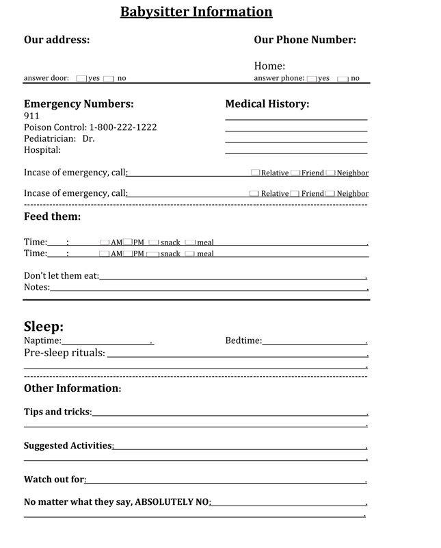 information for babysitter template xv-gimnazija