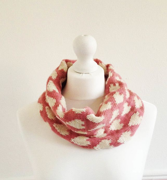 Pink And Cream Hearts Fair Isle Knitted Snood Handmade By Grace Cook £15.00