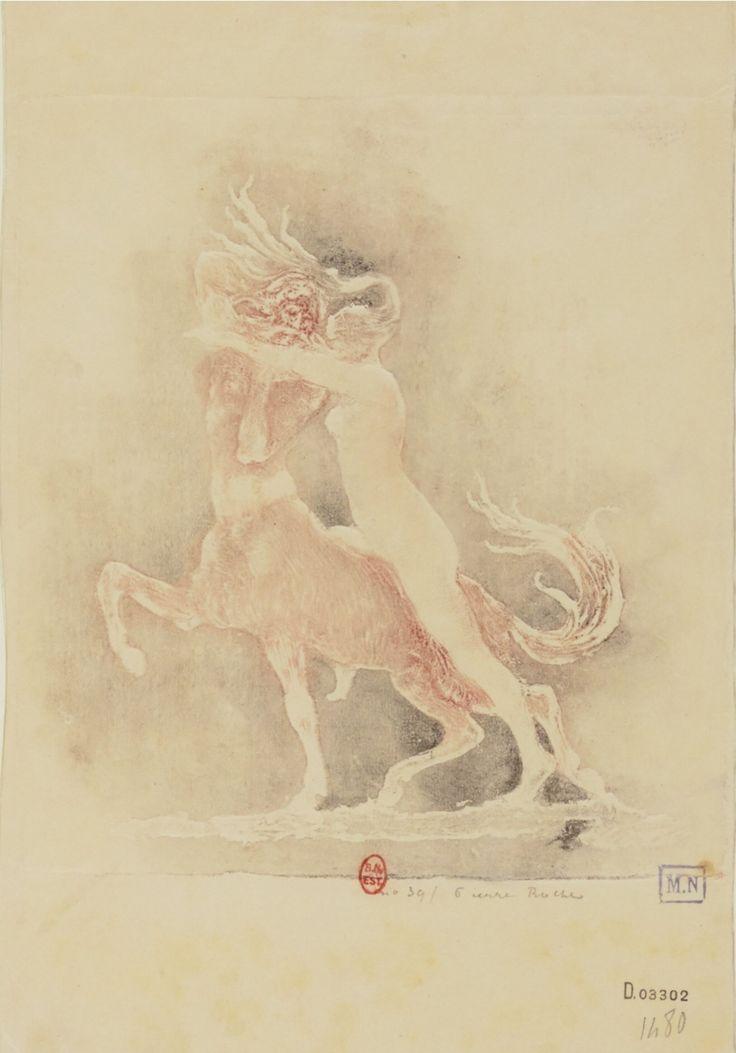 Centaure. Estampe. Gypsographie, Pierre Roche.  Pierre Roche.(1855-1922). Graveur.