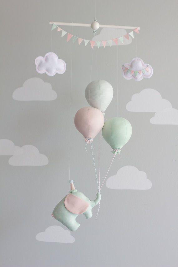 Baby Mobile, Elephant and Balloon Mobile, Travel Theme, Nursery Decor, Circus Mobile, Mint Pink and Gray Mobile, i97