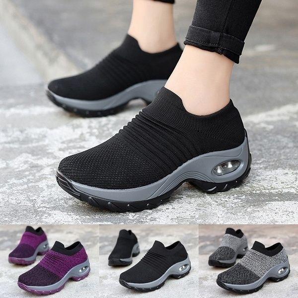Women Casual Mesh Sneaker Breathable Running Walking Sports Platform Shoes