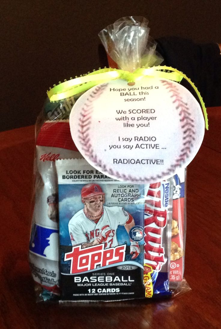 End of season goodie bags I made the team! Baby Ruth bar, MLB fruit snacks, sunflower seeds, Big League Chew, Cracker Jacks and baseball cards.