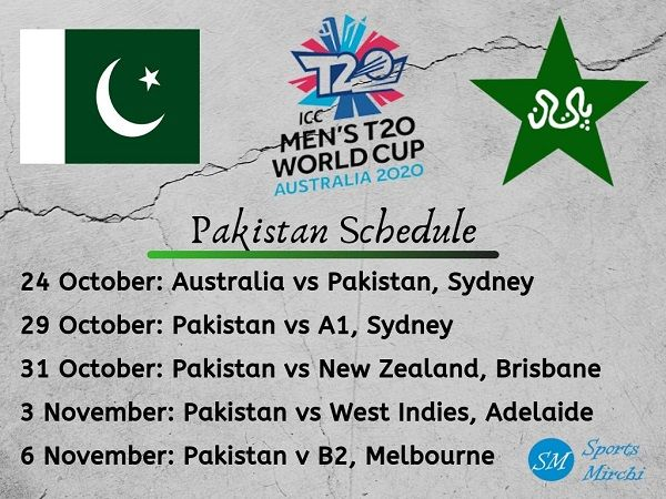 Pakistan Cricket Schedule For T20 World Cup 2020 Sports Mirchi World Cup Cricket Schedule World