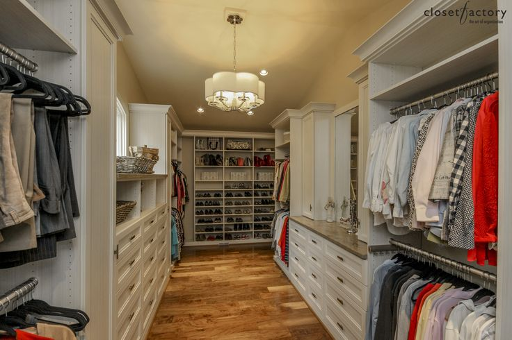 A spacious Shaker-styled boutique with accented countertops.  Designed by professional designer Deb Broockerd  Learn more here: https://www.closetfactory.com/custom-closets/