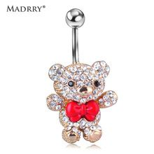 Red Bow Tie Little Bear Belly Button Rings Body Piercing Jewelry for Cute Girls Womens 316L Surgical Steel Pircing 14G 1.6mm Bar(China (Mainland))