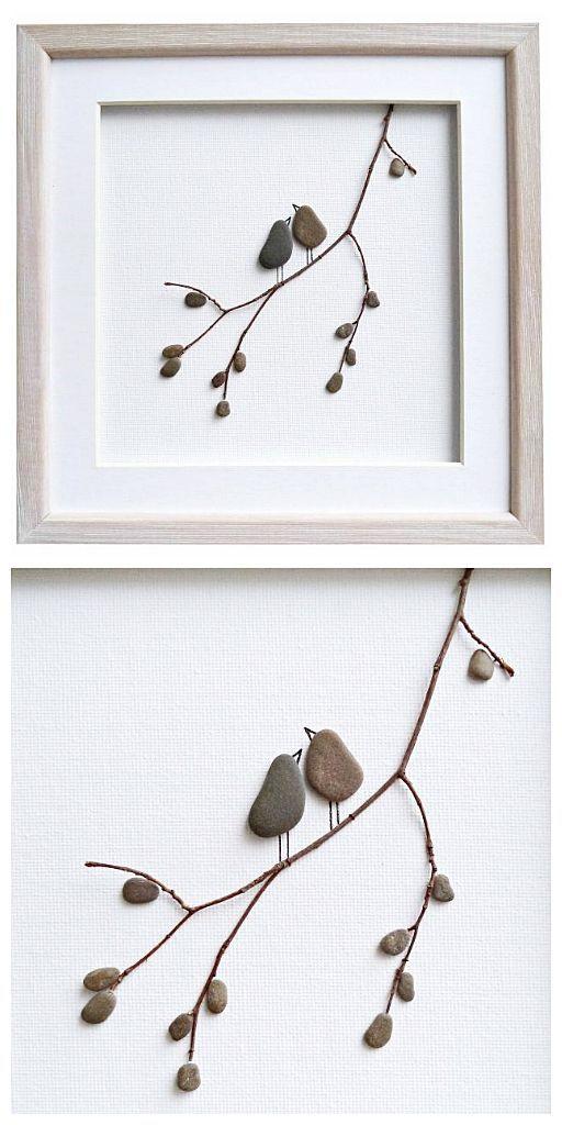 Pebble art love birds, romantic gift for …