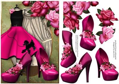 Pink Poodle Dress Shoes Roses on Craftsuprint designed by Anne Lever - This lovely topper features a fabulous pink poodle dress and matching shoes. It is embellished with gorgeous glory roses. It has decoupage to add depth.  - Now available for download!