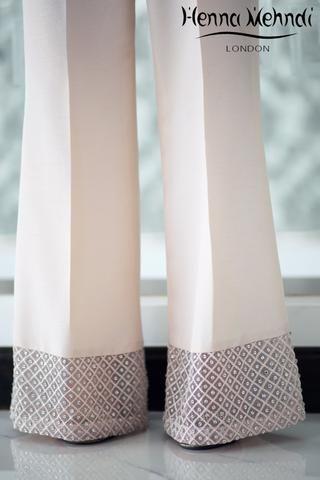 Tea Pink Diamanté Embellished Trousers