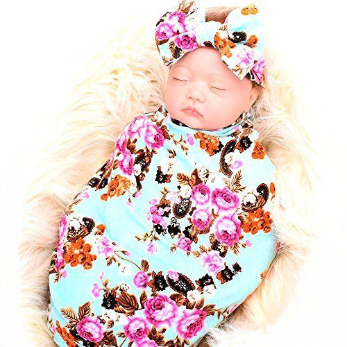 Galabloomer Newborn Receiving Blanket Headband Set Flower Print Baby Swaddle Receiving Blankets