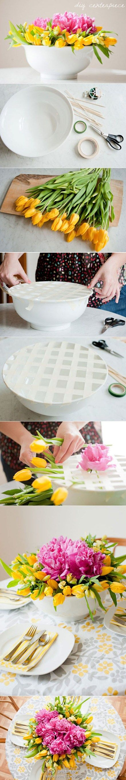 Use tape to make a grid on wide open bowls and vases. The grid makes it easier to decorate flowers.