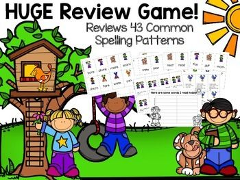 Review reading spelling patterns with this review game. Great to send home with parents or to use at summer school. It would also be a great end of the year review game for the last week of school! How to Use: This is a huge REVIEW game! 44 Common Spelling Patterns!