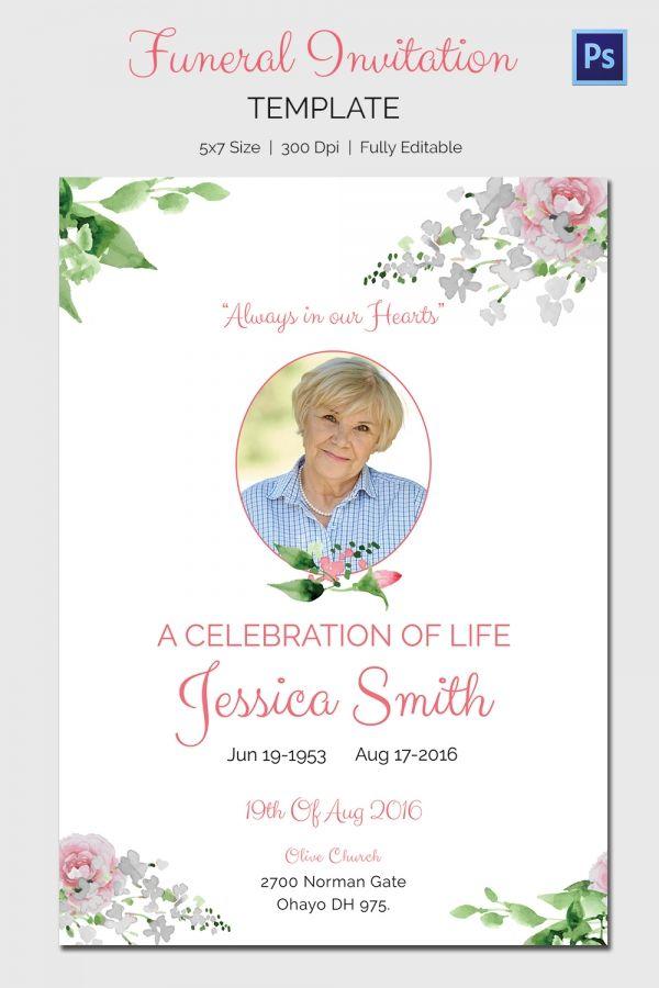 Pin lisääjältä Wendy taulussa Dorothy Pinterest - memorial service invitation template