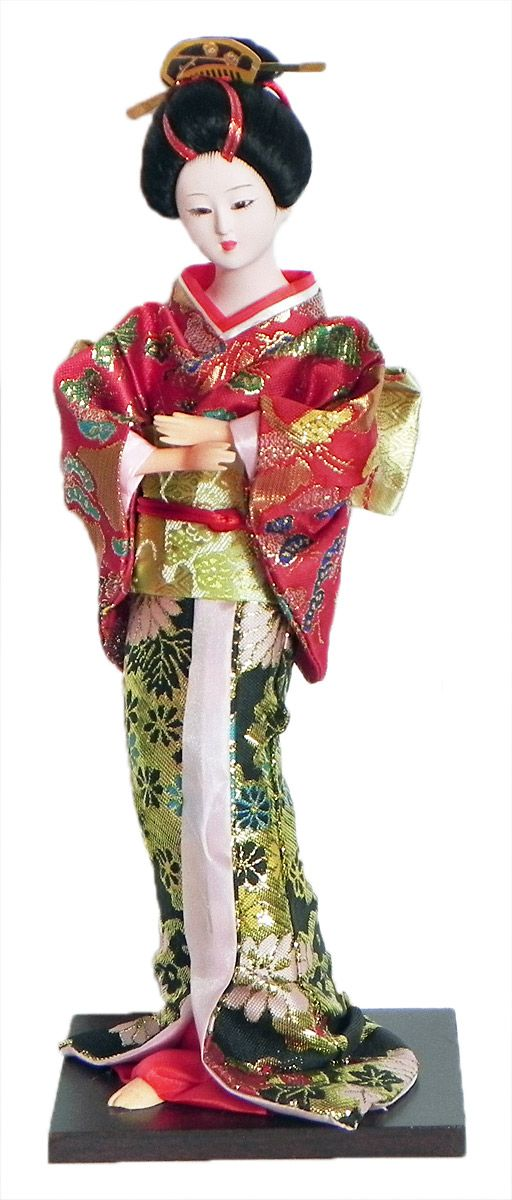 Japanese Geisha Doll in Black and Red with Weaved Golden Design Kimono Dress (Cloth, Clay, Plastic and Thermocol)