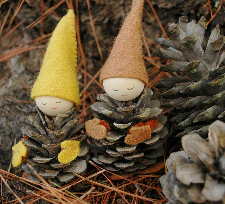 gnomos gnome bosque forest woods piña pine cone fieltro felt diy niños manualidades craft kids children miraquechulo
