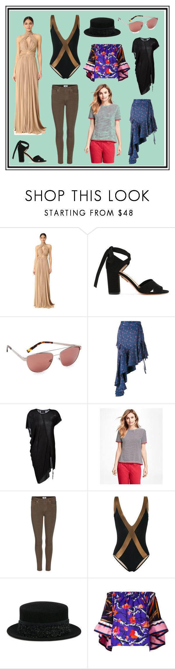 """Natural Life"" by cate-jennifer ❤ liked on Polyvore featuring Maria Lucia Hohan, Aquazzura, Kendall + Kylie, Sandy Liang, Lost & Found, Brooks Brothers, Paige Denim, Zeus+Dione, Maison Michel and Emilio Pucci"