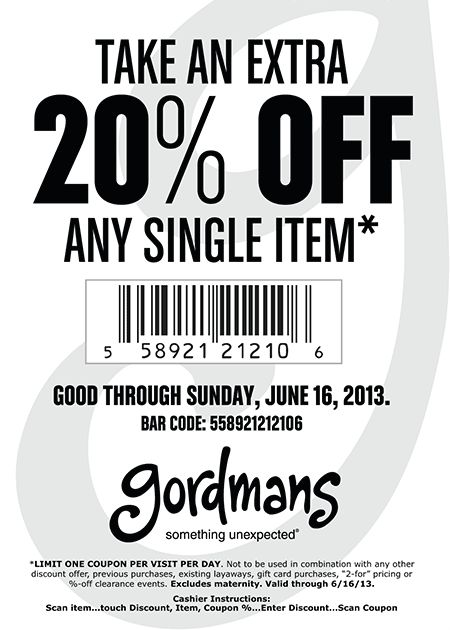 Pinned June 3rd: 20% off a single item at Gordmans coupon via The Coupons App