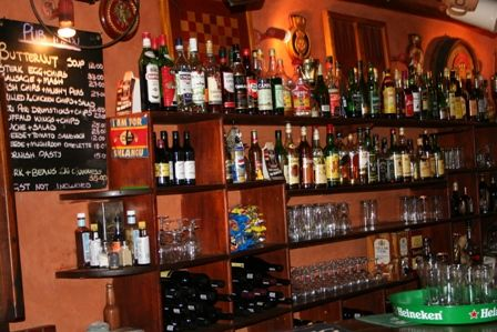 The well stocked Malandelas bar - famous for it.