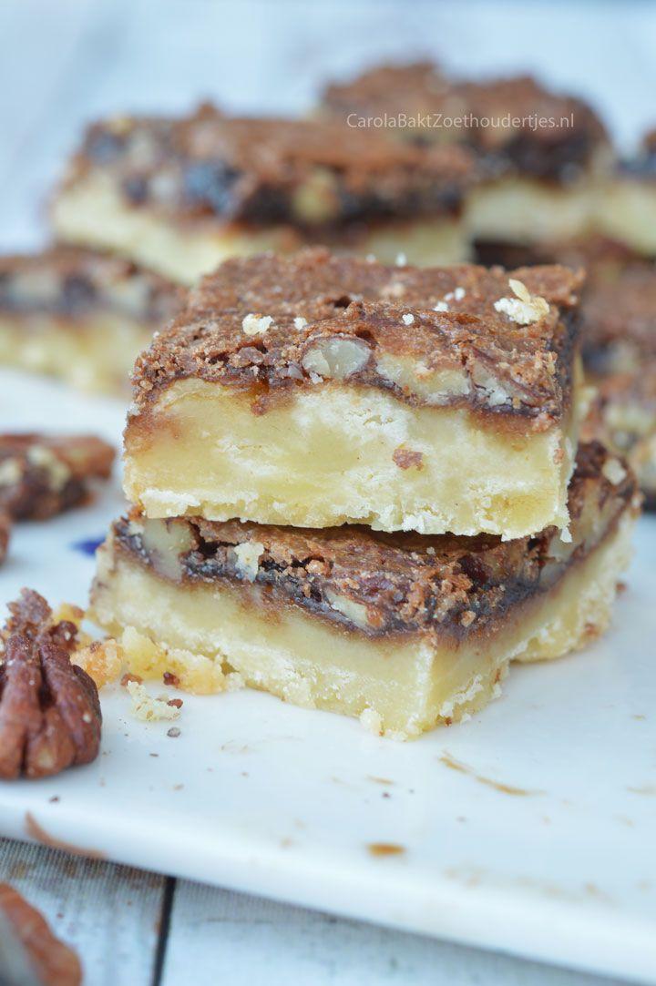 Butter tart plaatkoek uit Canada, het lijkt een beetje op een bodem van boterkoek met een suikertopping vol pecannoten. Een heerlijk een eenvoudig recept.