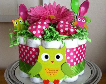 owl diaper cake for girl - Google Search