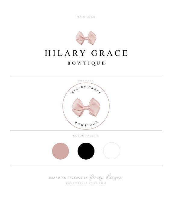Hair Bow Logo Bowtique Logo Boutique Logo Blush Pink Logo Etsy Etsy Boutique Logo Ribbon Logo Blush Pink Logo