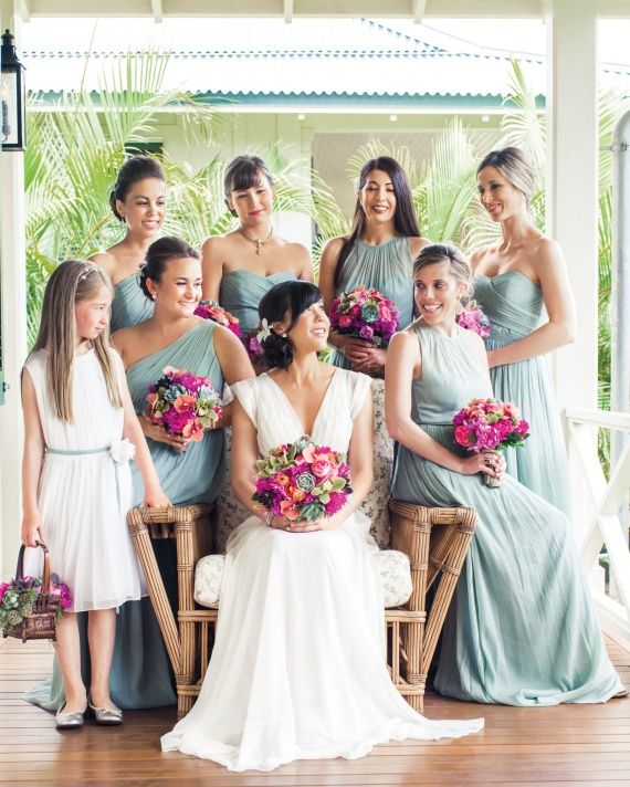 All in the Family - Each bridesmaid wore a sea-glass-green silk-chiffon J.Crew gown with the neckline of her choice.