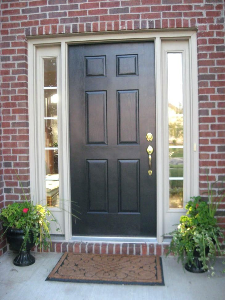 Red Brick House Front Door Color Ideas Black Wooden Door With