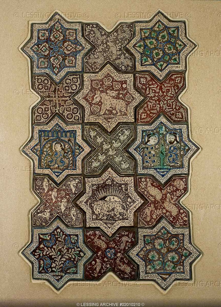 Turkish ornamental tiles from Kashan or Danghan. Assorted. 78,5 x 49,5 cm A.O. 6319   Louvre, Departement des Arts d'Islam, Paris, France
