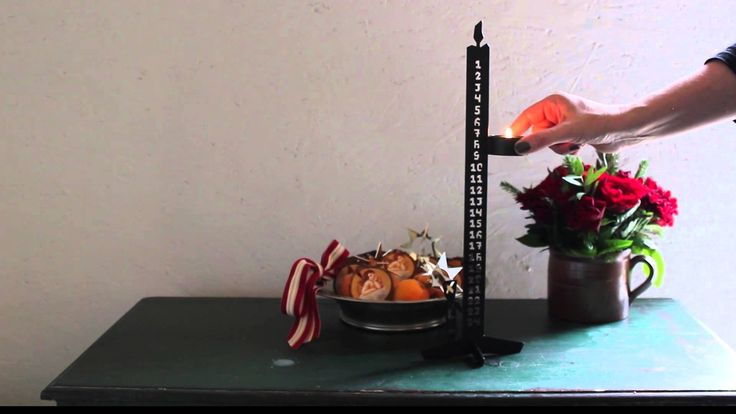 Advent candle in steel magnetic, removable candle holder, black steel