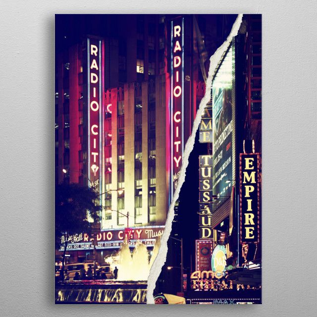 Nyc Night Signs Metal Poster Philippe Hugonnard Displate Canvas Wall Art Canvas Art Trademark Fine Art