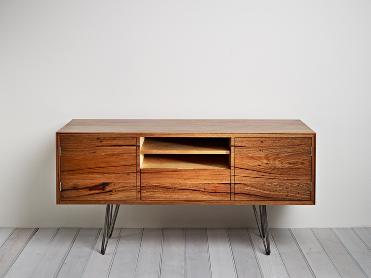 Auld Design - Australian furniture design and joinery. Handmade recycled Messmate entertainment unit with hairpin legs.