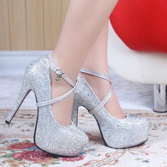 Свадебные туфли на платформе и высоком каблуке