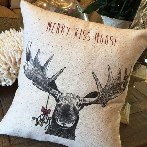 Moose Christmas Pillow, 12x12 or 12 x 18, rustic, Merry Kiss Moose, mistletoe, farmhouse, vintage