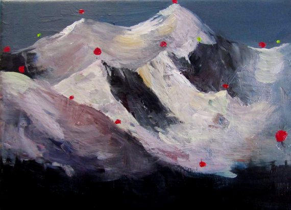 Mountains in snow by mrougenero on Etsy