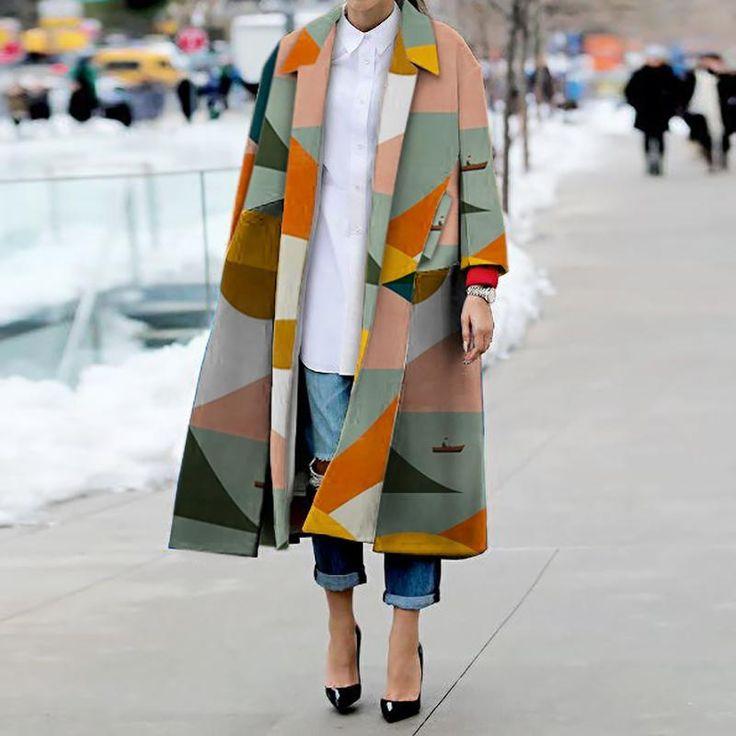 Fashion Turndown Collar Printed Colour Long Sleeve Slit Coat