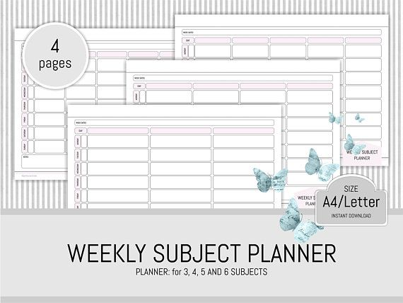 student planner printable subject planner study planner pages