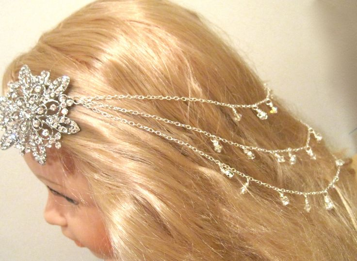 My Lydia hair chain, a bespoke hair piece made for a bride. If you are interested in a hair chain, feel free to visit my site at www.simplysilverbyrebecca.com. I can create this for you.