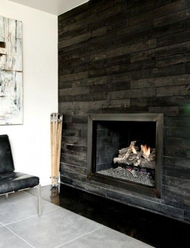 Fireplaces wall treatments and woods on pinterest - Feature wall ideas living room with fireplace ...