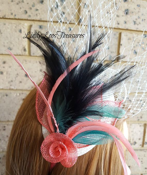 Ivory and Coral Feather Fascinator Sinamay Hat Fascinator