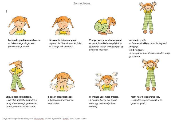 """Bewegingsversje : de zonnebloem. Vrije vertaling door Els Saey, van """"Sunflower"""" uit het tijdschrift """"Turtle"""" door Susan Kuehn"""