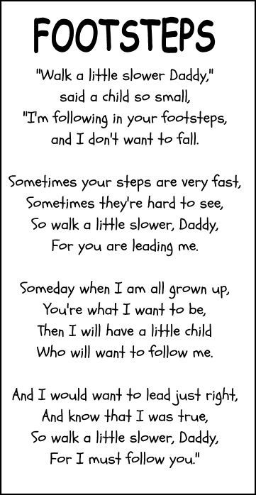 footprints father's day poem | Little Stars Learning: Father's Day Craft and Printable