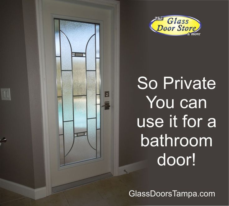 Single Bathroom Door With Decorative Glass Door Insert For Privacy