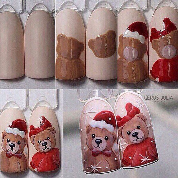 Нарисовать медведя на ногтях фото