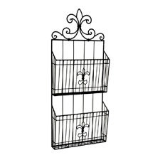 Tuscan Transitional Black Wrought Iron Metal Fleur-De-Lis Wall Magazine Rack