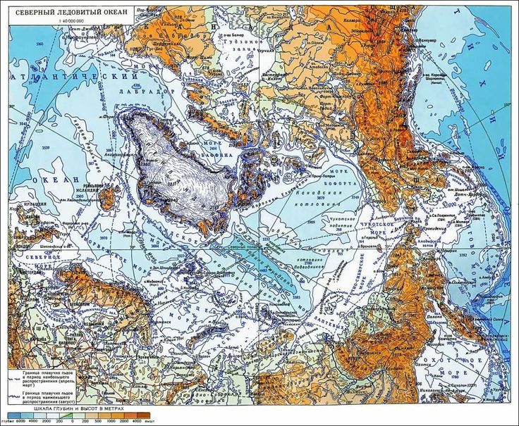 Карта Северного Ледовитого океана. Map of Arctic Ocean
