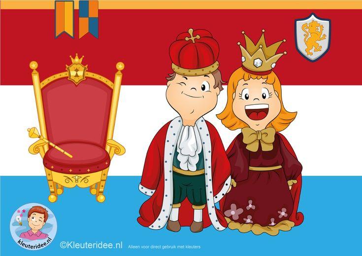 Interactieve praatplaat voor kleuters, thema Koningsdag, met veel informatieve video's, kleuteridee.nl