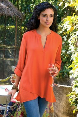 Asymmetrical Tunic from Soft Surroundings this can not be that difficult to do,and very effective!!
