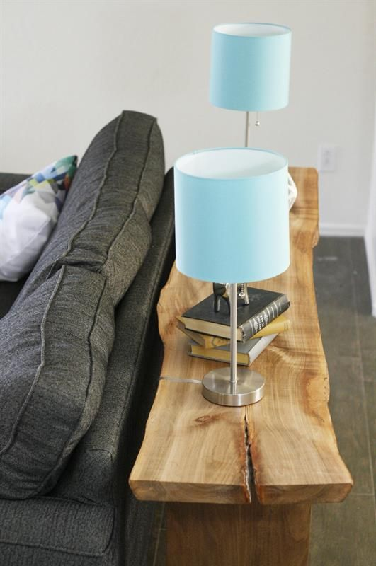 With the clean lines of this floating top console/sofa table, you can add any kind of top you would like. Construct a top out of wood, concrete, or even a live edge slab to create a custom look. Plan can be adapted for custom milled hardwood or off the shelf lumber.