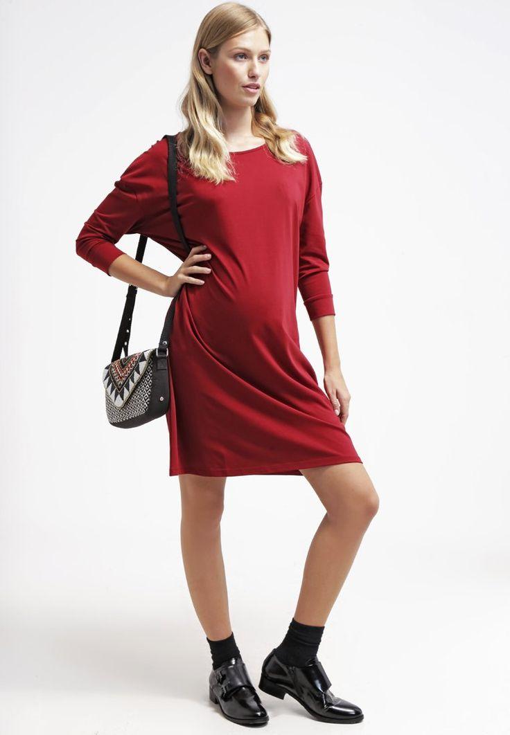 ¡Cómpralo ya!. Zalando Essentials Vestido de algodón dark red.  , vestidoinformal, casual, informales, informal, day, kleidcasual, vestidoinformal, robeinformelle, vestitoinformale, día. Vestido informal  de mujer color rojo oscuro de Zalando essentials.