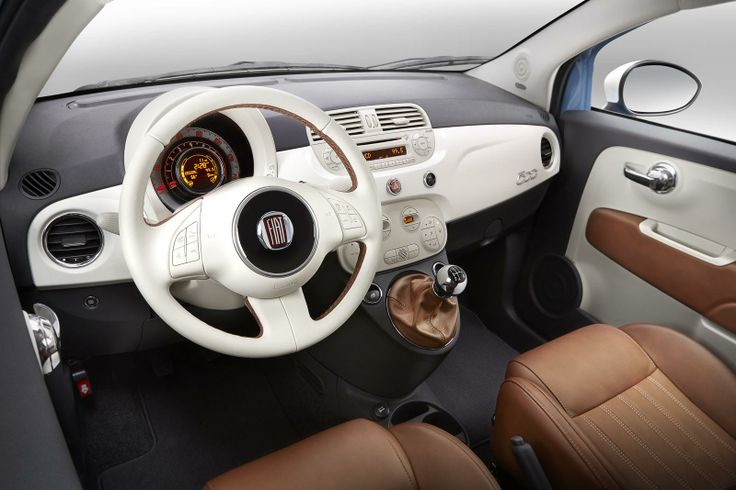 "Very nice interior! 2014 Fiat 500 ""1957 Edition"" #fiat500 #fiat"